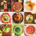 Tasty Food And Drinks Collage Stock Photography - 55140482