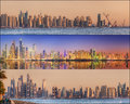 Collage Of The Beauty Panorama At Dubai Marina. Stock Photo - 55144580