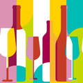 Vector Seamless Background, Wine Bottle And Glass Silhouette. Ab Royalty Free Stock Image - 55160156
