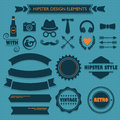Hipster Design Elements Set On Blue Dotted Background Stock Photos - 55164463