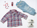 Top View Fashion Trendy Look Of Baby Boy Clothes With Toy And Sw Royalty Free Stock Photography - 55182107