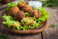 Chickpeas Falafel  With Tzatziki Sauce Stock Images - 55189504
