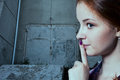 Psst - A Beautiful Girl With Pigtails Making A Shushing Gesture Stock Images - 55194104