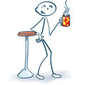 Stick Figure At The Coffee Break Royalty Free Stock Images - 55198539