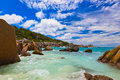 Tropical Beach At Seychelles Stock Images - 55202674
