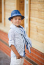 Stylish Boy In The Street Near His Home Stock Images - 55225004
