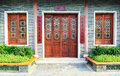 Wooden Front Door Wood Window Of Chinese Classic House Royalty Free Stock Photos - 55251838
