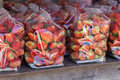Strawberry Juicy Fruit In Plastic Bag Royalty Free Stock Photos - 55260238