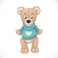 Toy Teddy Bear In A Green Sweater Stock Images - 55269734