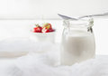 Low-fat Homemade Yogurt With Fresh Strawberries On A Light Woode Stock Image - 55289111