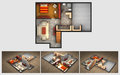 Rendered House Plan And Three Isometric Section Views Stock Photos - 55293503