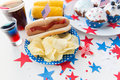 Food And Drinks On American Independence Day Party Royalty Free Stock Photography - 55296227