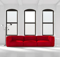 White Room With A Red Sofa Stock Photos - 55296803