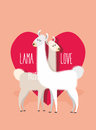 Lama Love. Two Llama Alpaca On Ackground Of   Heart. Greeting Ca Royalty Free Stock Images - 55309619