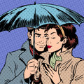 Rain Man And Woman Under Umbrella Romantic Royalty Free Stock Photo - 55328955