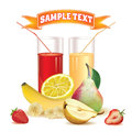 Two Glasses With Juice And Straw, Banana, Strawberry And Pear Royalty Free Stock Photography - 55344057