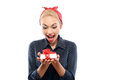 Pin Up Girl With A Present Royalty Free Stock Image - 55351896