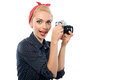 Pin Up Girl With A Camera Stock Image - 55352011
