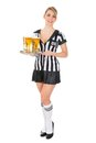 Referee Holding Tray With Beer Royalty Free Stock Photos - 55359528