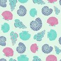 Vector Blue Seamless Sea Pattern With Seashell Illustrations Royalty Free Stock Photo - 55371065