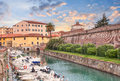 Canal With Boats And Walls Of The Old Fortress In Livorno, Tusca Stock Photos - 55385003
