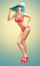 Beautiful Woman In Red Polka Dots Fashionable Swimsuit. PinUp Stock Photos - 55385753