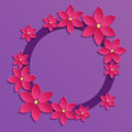 Decorative Violet Papercut Border With Pink Paper Flowers. 3D Pa Stock Images - 55405224