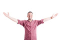 Happy Man With Arms Wide Open Royalty Free Stock Image - 55410786