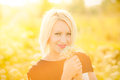 Portrait Of Gorgeous Young Woman In Sunlight Outside Royalty Free Stock Images - 55414129