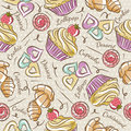 Background With Cupcake, Croissant And Cookie. Stock Photos - 55415873