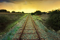 Old Railway Through The African Semi Desert Landscape Stock Images - 55417104