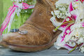 Rustic Boot, Rings And Flowers With Vintage Texture Royalty Free Stock Image - 55419346
