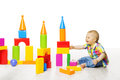 Baby Kid Play Block Toys Building, Child Boy Playing Constructor Royalty Free Stock Photo - 55429945