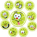 Lime Icon Cartoon With Funny Faces Isolated Royalty Free Stock Photos - 55434108