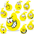 Pear Icon Cartoon With Funny Faces Isolated Stock Image - 55434951
