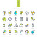 Set Of Line Modern Color Icons For Green Energy Stock Photos - 55440433
