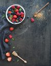 Berry Frame With Copy Space On Right. Strawberries Stock Images - 55440604