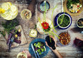 Food Table Healthy Delicious Organic Meal Concept Royalty Free Stock Images - 55444999