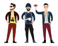 Young Men Character  Flat Set In Different Poses Stock Photography - 55451682
