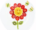 Creative Fruit Child Dessert Red Flower And Butterflies Form Royalty Free Stock Photos - 55472828