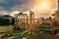 Temple Of Saturn And Forum Romanum In Rome Stock Image - 55478001