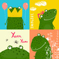 Colorful Fun Cartoon Frogs Animals Greeting Cards Royalty Free Stock Photos - 55478628