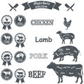 Vector Diagram Cut Carcasses Of Chicken, Pig, Cow Royalty Free Stock Images - 55495769