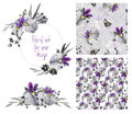 Watercolor Floral Set Templates With Irises For Your Design. Stock Photos - 55501183