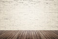 Old Interior Room With Brick Wall And Wood Floor Royalty Free Stock Photography - 55514097