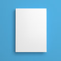 White Blank Book Cover Isolated On Blue Royalty Free Stock Photography - 55519217
