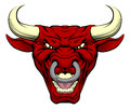 Red Bull Mascot Face Royalty Free Stock Images - 55519949