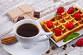 Cup Of Coffee, Belgium Waffle And Strawberries. Stock Photography - 55521202