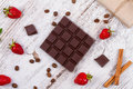 Chocolate Bars And Strawberries Stock Photography - 55521562