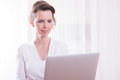 Attractive Woman Woman Working With Computer On Her Hands Royalty Free Stock Photo - 55527665